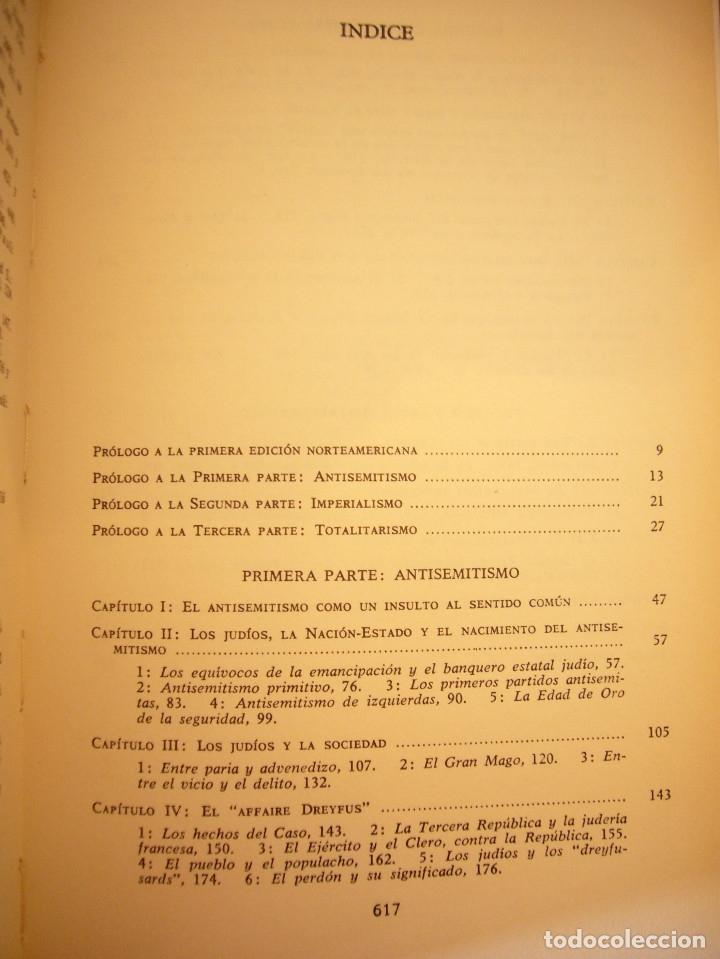 Libros de segunda mano: HANNAH ARENDT: LOS ORÍGENES DEL TOTALITARISMO. COMPLETO EN UN VOL. (TAURUS, 1998) MUY RARO - Foto 6 - 178608050