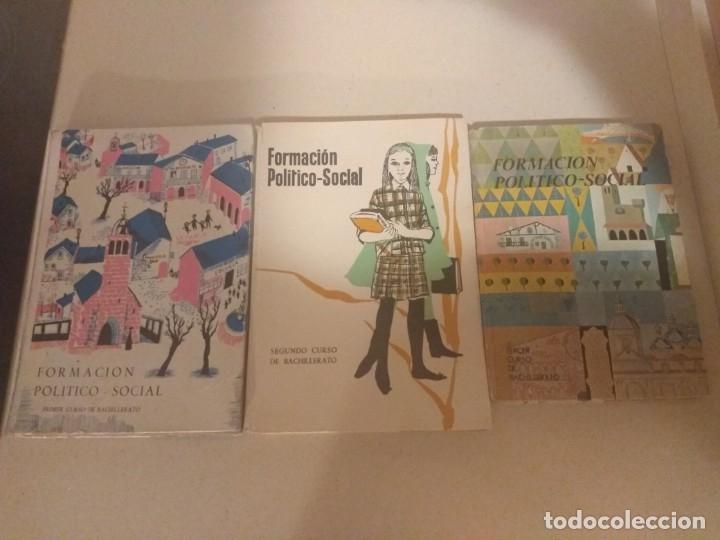 LOTE 3 LIBROS ANTIGUOS FORMACIÓN POLITICO SOCIAL 1-2-3° BACHILLERATO 1966 SECCION FEMENINA FET JONS (Libros de Segunda Mano - Pensamiento - Política)