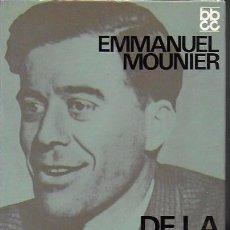 Libros de segunda mano: DE LA PROPIETAT CAPITALISTA A LA PROPIETAT HUMANA / E. MOUNIER; PROL. A. COMÍN. BCN : ED.62, 1968. . Lote 183859455