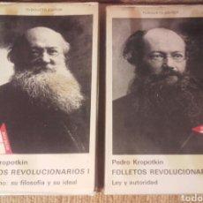 Libros de segunda mano: FOLLETOS REVOLUCIONARIOS. KROPOTKIN. TOMOS I Y II. ED. TUSQUETS.. Lote 191730973