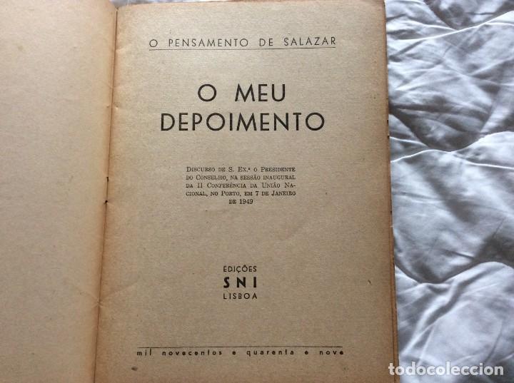 Libros de segunda mano: MI TESTIMONIO.Oliveira Salazar. Año 1949. Muy escaso. - Foto 2 - 194247781