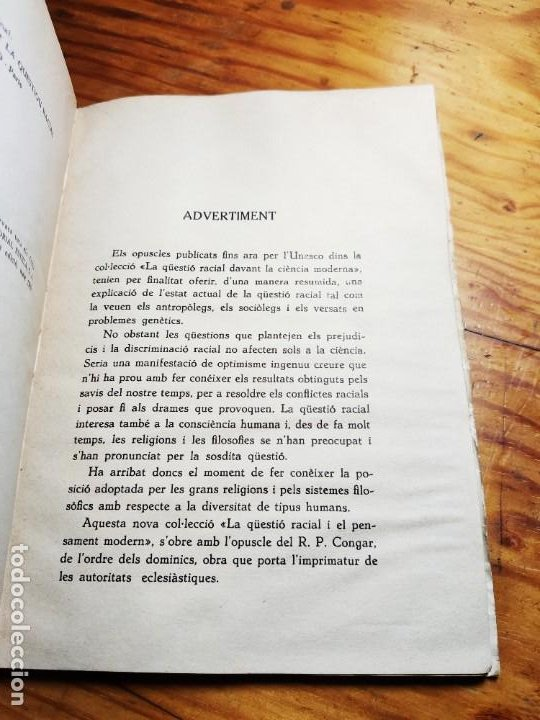 Libros de segunda mano: El racisme i lesglésia. I. M. Congar. - Foto 5 - 194339140