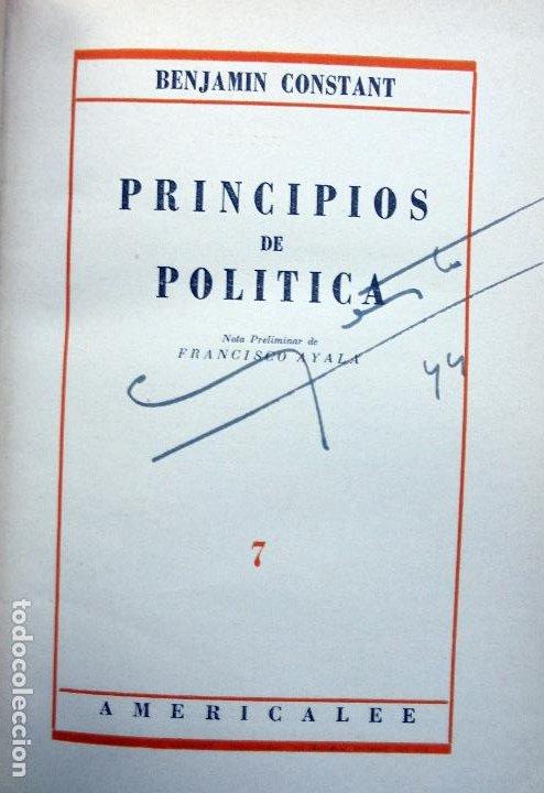 Libros de segunda mano: PRINCIPIOS DE POLÍTICA. Benjamin Constant.Editorial Americalee.1943 - Foto 2 - 194502621