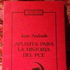 Libros de segunda mano: APUNTES PARA LA HISTORIA DEL PCE, DE JUAN ANDRADE.. Lote 195285190
