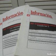 Libros de segunda mano: INFORMACION DOCUMENTOS XV CONBRESO PCE-NUMERO 21 Y 22 1998. Lote 197496881
