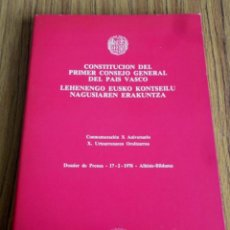 Libros de segunda mano: CONSTITUCIÓN DEL PRIMER CONSEJO GENERAL DEL PAÍS VASCO LEHENENGO EUSKO KONTSEILU NAGUSIAREN ERAKUNTZ. Lote 199242768