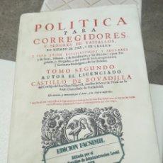 Libros de segunda mano: POLÍTICA PARA CORREGIDOR ES Y SEÑORES VASALLOS POR CASTILLO DE BOVADILLA 1704. Lote 201893520