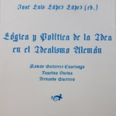 Libros de segunda mano: LOGICA Y POLITICA DE LA IDEA EN EL IDEALISMO ALEMAN JOSE LUIS LOPEZ CATEDRATICO FILOSOFIA 1996. Lote 205078708