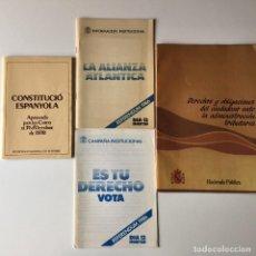 Libros de segunda mano: LOTE LIBRILLO CONSTITUCIÓN ESPAÑOLA 1978 - LIBRILLO + TRÍPTICO LA ALIANZA ATLÁNTICA 1986. Lote 205849676