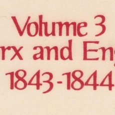 Libros de segunda mano: MARX-ENGELS COLLECTED WORKS VOL. 3 - 1843-1844 - MARX, KARL & ENGELS, FREDERICK. Lote 210936684