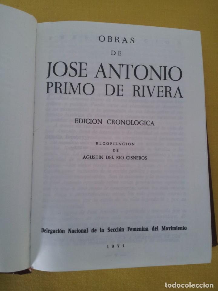 Libros de segunda mano: JOSE ANTONIO PRIMO DE RIVERA - OBRAS, EDICION CRONOLOGICA - SEXTA EDICION 1971. EDITORIAL ALMENA - Foto 2 - 215925918
