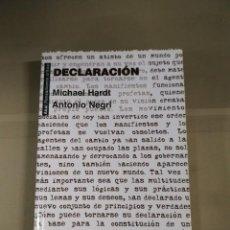 Libros de segunda mano: DECLARACIÓN - MICHAEL HARDT / ANTONIO NEGRI. AKAL PENSAMIENTO CRÍTICO. Lote 217764886