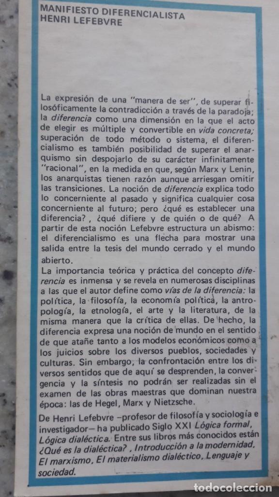 Libros de segunda mano: Manifiesto diferencialista, Henri Lefebvre, editorial Siglo Veintiuno, 1972 - Foto 2 - 224158008