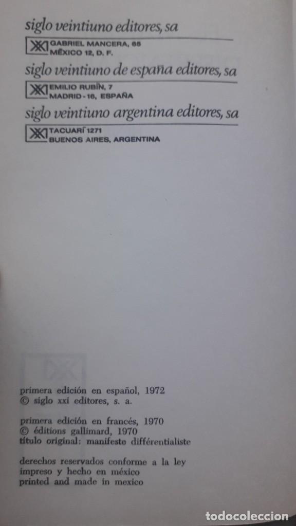 Libros de segunda mano: Manifiesto diferencialista, Henri Lefebvre, editorial Siglo Veintiuno, 1972 - Foto 4 - 224158008