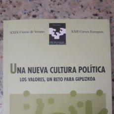 Libros de segunda mano: UNA NUEVA CULTURA POLITICA: GIPUZKOA, PARTICIPACION, PERSPECTIVA DE GENERO, NACIONALISMO, BNG. Lote 224769186