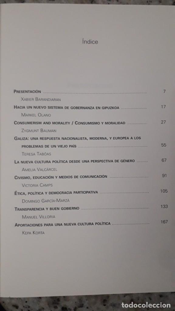 Libros de segunda mano: UNA NUEVA CULTURA POLITICA: GIPUZKOA, PARTICIPACION, PERSPECTIVA DE GENERO, NACIONALISMO, BNG - Foto 2 - 224769186
