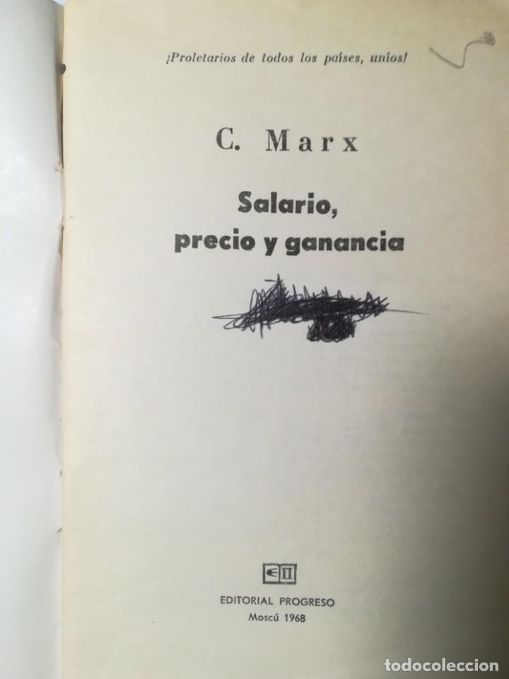 Libros de segunda mano: Salario, precio y ganancia, Karl Marx. Marxismo. Editorial Progreso 1968. - Foto 2 - 227884990