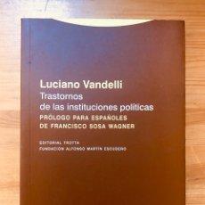 """Libros de segunda mano: """"TRASTORNOS DE LA INSTITUCIONES POLÍTICAS"""" LUCIANO VANDELLI. Lote 228306280"""