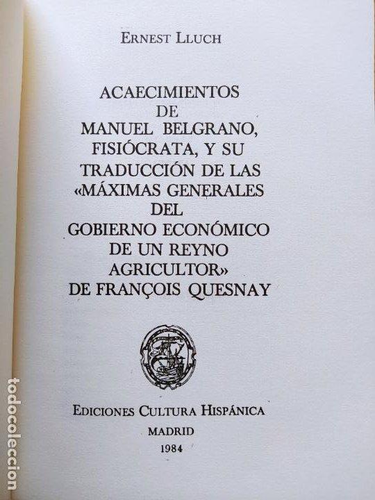 Libros de segunda mano: Acaecimientos de Manuel Belgrano, fisiocrata. F. Quesnay, ed. Cultura hispanica, 1984. Facsimil - Foto 3 - 232426915