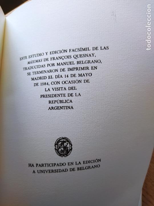 Libros de segunda mano: Acaecimientos de Manuel Belgrano, fisiocrata. F. Quesnay, ed. Cultura hispanica, 1984. Facsimil - Foto 8 - 232426915