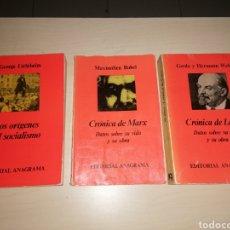 Libros de segunda mano: LOS ORÍGENES DEL SOCIALISMO - CRÓNICAS DE MARX - CRÓNICAS DE LENIN. Lote 234952605