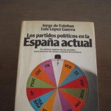 Libros de segunda mano: JORGE DE ESTEBAN LUIS LÓPEZ GUERRA - LOS PARTIDOS POLÍTICOS EN LA ESPAÑA ACTUAL. PLANETA 1982. Lote 236901595
