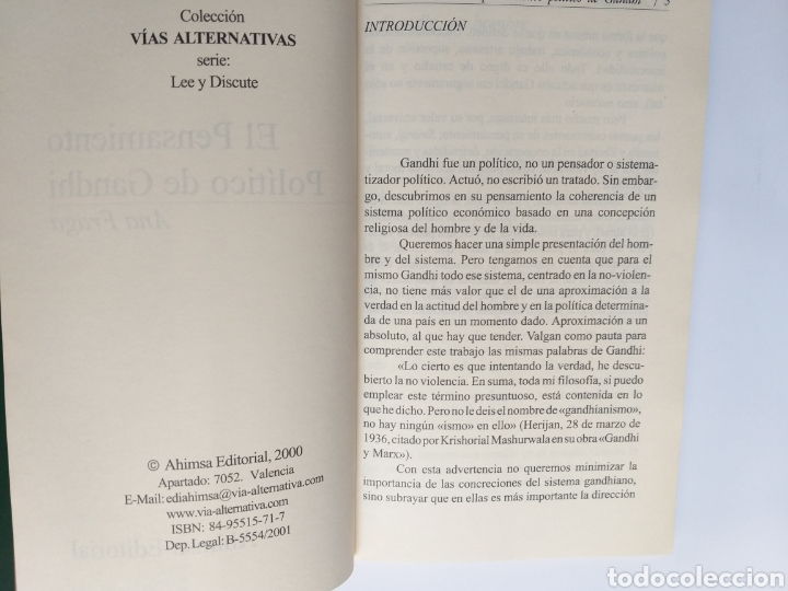Libros de segunda mano: El pensamiento político de Gandhi. Ana Fraga. Ahimsa editorial 2000 - Foto 7 - 236926810