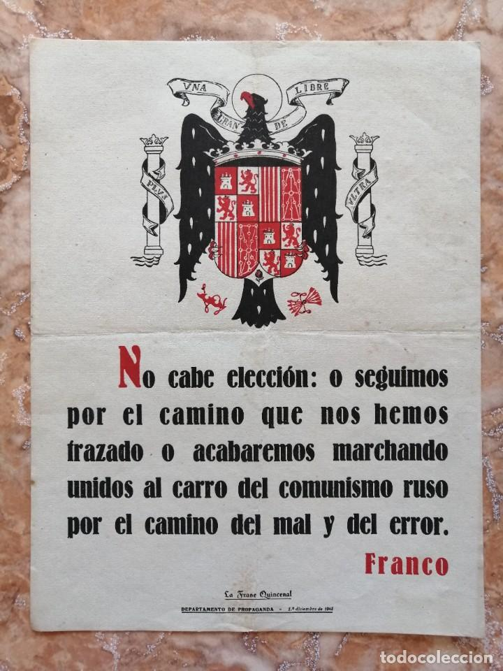 CARTEL FRASE QUINCENAL 1948. (Libros de Segunda Mano - Pensamiento - Política)