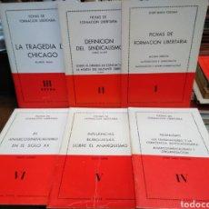 Libros de segunda mano: FICHAS DE FORMACIÓN LIBERTARIA-6 VOLÚMENES,MIRAR FOTOS AÑOS 70,SE VENDE JUNTO,ANARCOSINDICALISMO. Lote 244532640