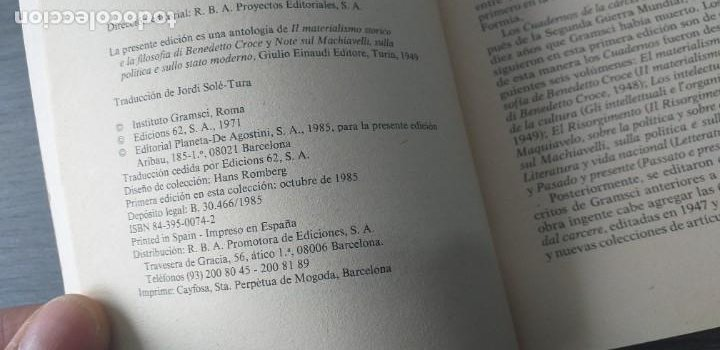 Libros de segunda mano: *** LIBRO . ** LA POLITICA Y EL ESTADO MODERNO ** ANTONIO GRAMSCI. 1985 . Pensamiento Político *** - Foto 5 - 262126025