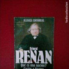 Libros de segunda mano: ERNEST RENAN QUE ES UNA NACION CARTAS A STRAUSS ALIANZA EDITORIAL. Lote 250239850