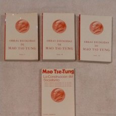 Libros de segunda mano: OBRAS ESCOGIDAS DE MAO TSE TUNG TOMOS I II Y III MAS TEXTOS INEDITOS 19,3 X 13 X 2,5. Lote 251621960