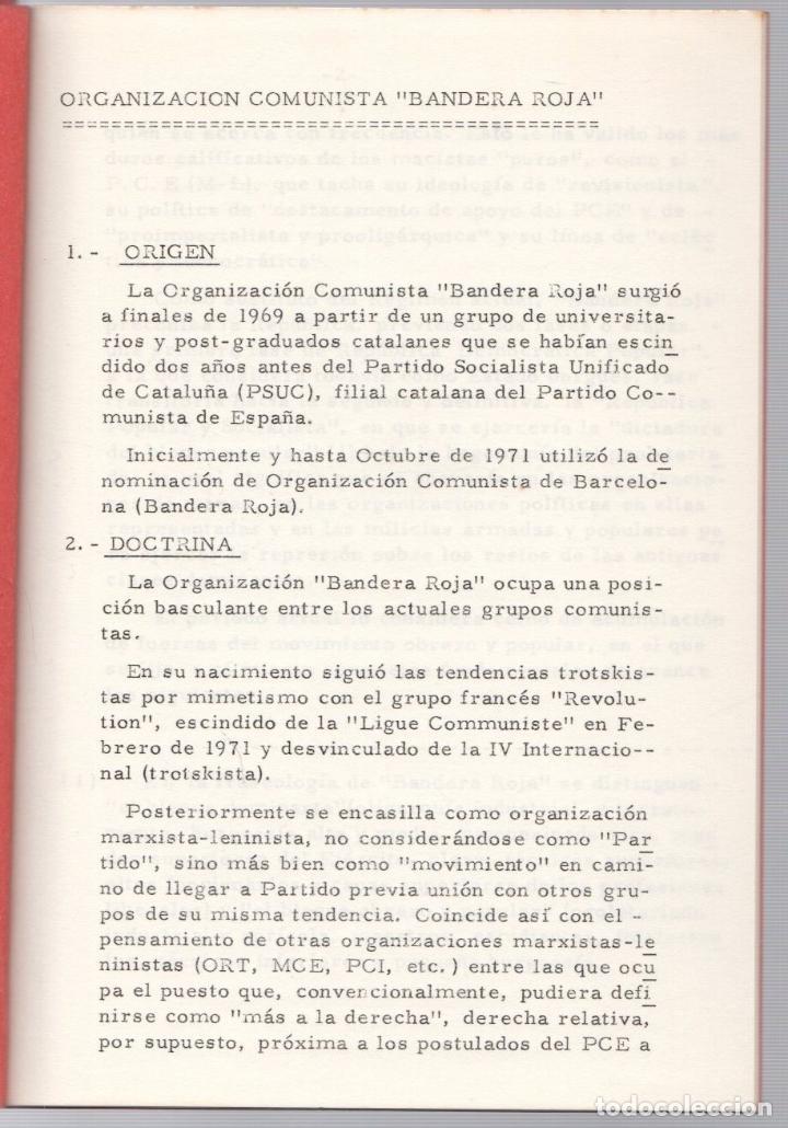 Libros de segunda mano: ORGANIZACION COMUNISTA DE ESPAÑA. BANDERA ROJA (B.R.). GRUPOS SUBVERSIVOS CLANDESTINOS. 4. 1974 - Foto 2 - 253488155