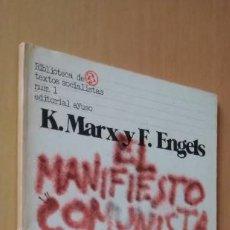 Libros de segunda mano: EL MANIFIESTO COMUNISTA. K. MARX/ F. ENGELS. BIB. DE TEXTOS SOCIALISTAS Nº 1. AYUSO, 1977.. Lote 253897365