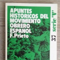 Libros de segunda mano: APUNTES HISTÓRICOS DEL MOVIMIENTO OBRERO ESPAÑOL. Lote 254481930