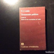 Libros de segunda mano: TESTAMENTO POLÍTICO. V.I.LENIN. Y DIARIO DE LA SECRETARÍAS DE LENIN.. Lote 257353105