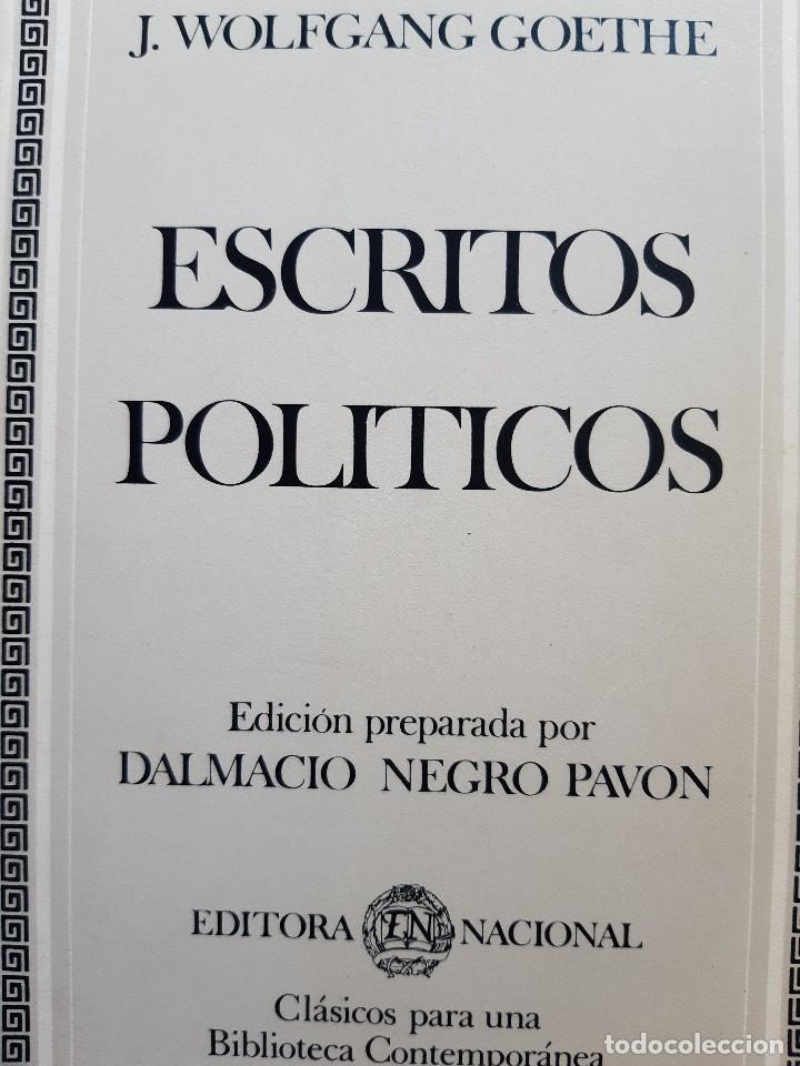 ESCRITOS POLITICOS WOLFGANG GOETHE DALMACIO NEGRO PAVON 1982 (Libros de Segunda Mano - Pensamiento - Política)