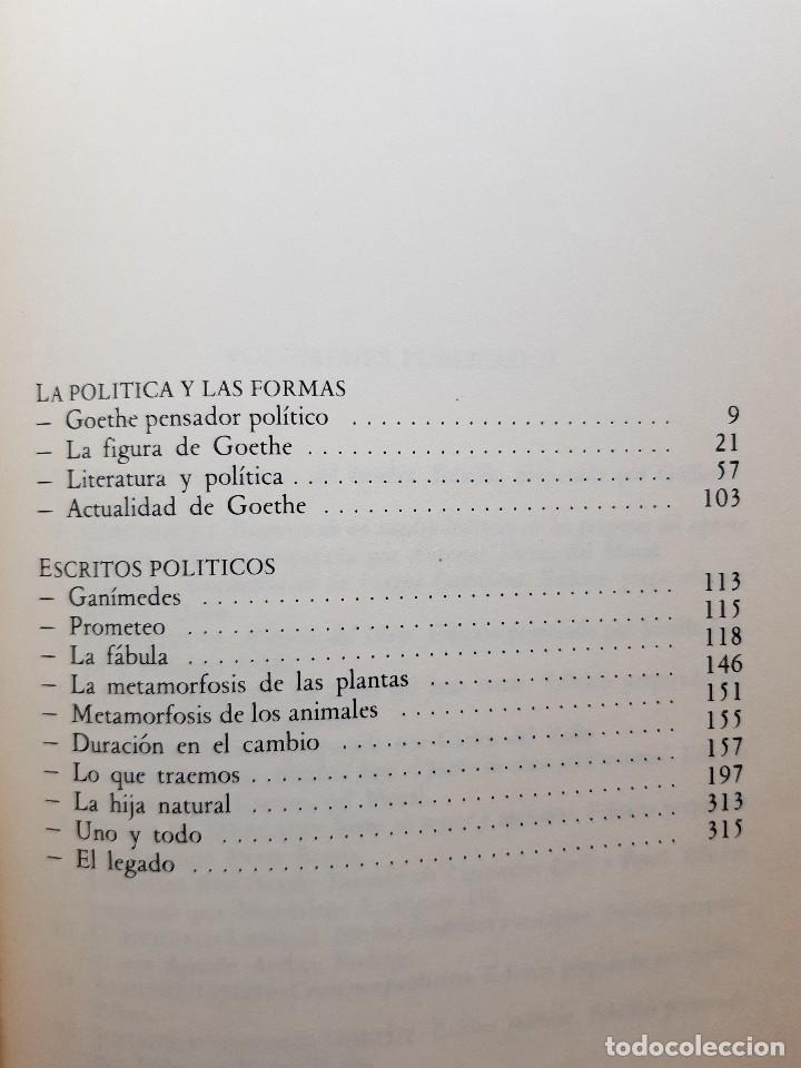 Libros de segunda mano: ESCRITOS POLITICOS WOLFGANG GOETHE DALMACIO NEGRO PAVON 1982 - Foto 10 - 257555185