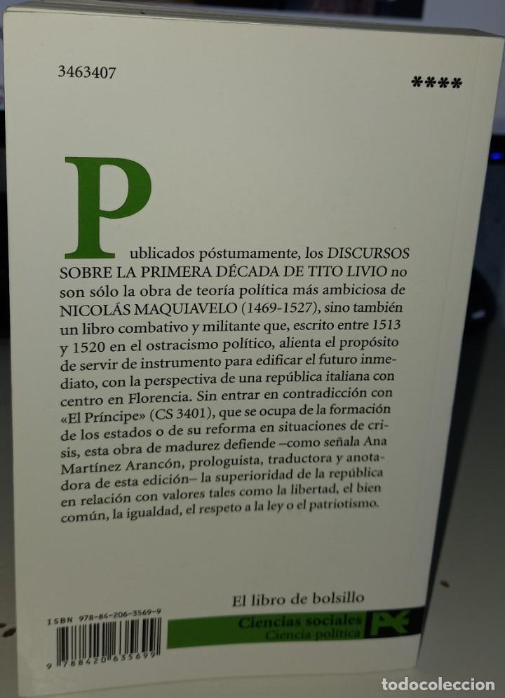 Libros de segunda mano: DISCURSOS SOBRE LA PRIMERA DÉCADA DE TITO LIVIO - MAQUIAVELO, NICOLÁS - Foto 2 - 261121485