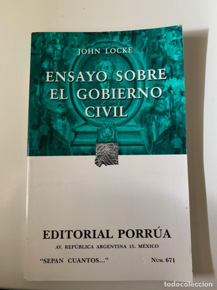 LOCKE, JOHN - ENSAYO SOBRE EL GOBIERNO CIVIL - EDITORIAL PORRUA (Libros de Segunda Mano - Pensamiento - Política)