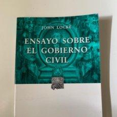 Libros de segunda mano: LOCKE, JOHN - ENSAYO SOBRE EL GOBIERNO CIVIL - EDITORIAL PORRUA. Lote 262120410