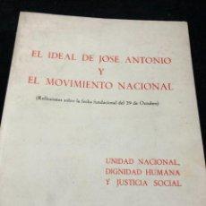 Libros de segunda mano: EL IDEAL DE JOSE ANTONIO Y EL MOVIMIENTO NACIONAL. REFLEXIONES. EDICIONES DEL MOVIMIENTO 1972. Lote 262669960