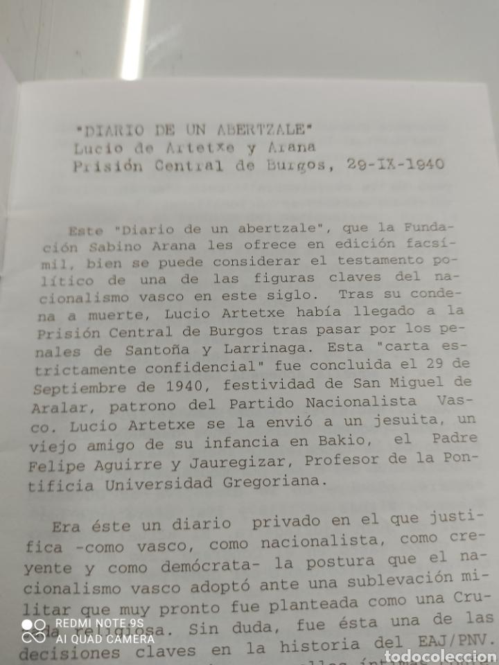Libros de segunda mano: DIARIO DE UN ABERTZALE FACSIMIL FUNDACION SABINO ARANA LUCIO DE ARTETXE Y ARANA PNV PAIS VASCO - Foto 5 - 268116179