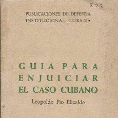 Libros de segunda mano: GUIA PARA ENJUICIAR EL CASO CUBANO - PIO ELIZALDE, LEOPOLDO - A-P-1592. Lote 277522448
