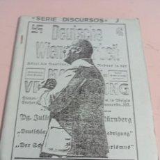 Libros de segunda mano: SERIE DISCURSOS Nº 3 JULIUS STREICHER EDICIONES NUEVO PENSAMIENTO REF. UR EST. Lote 285318468