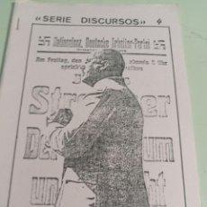 Libros de segunda mano: SERIE DISCURSOS Nº 4 JULIUS STREICHER EDICIONES NUEVO PENSAMIENTO REF. UR EST. Lote 285318528