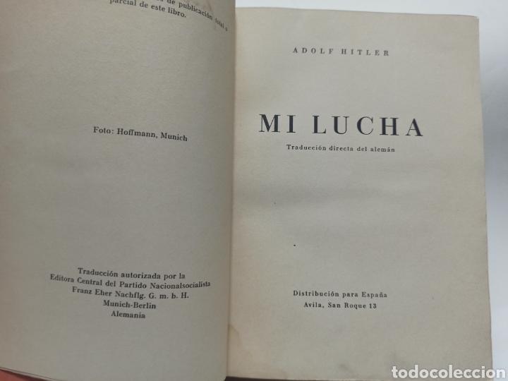 Libros de segunda mano: ADOLF HITLER: MI LUCHA, 2ª EDICIÓN: AVILA, 1937, ENCUADERNADO EN MEDIA PIEL CONSERVA CUBIERTA. - Foto 3 - 286335083
