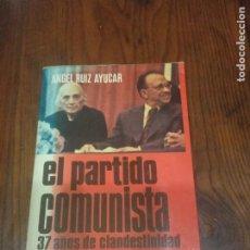Libros de segunda mano: EL PARTIDO COMUNISTA. 37 AÑOS DE CLANDESTINIDAD .-ANGEL RUIZ AYUCAR.. Lote 295833423