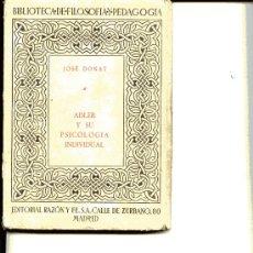 Libros de segunda mano: ADLER Y SU PSICOLOGIA INDIVIDUAL. Lote 6379364