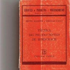 Libros de segunda mano: TECNICA DEL PSICODIAGNOSTICO DE RORSCHACH - KLOPFER, BRUNO ; KELLY, DOUGLAS - EDITORIAL PAIDOS. Lote 26361233